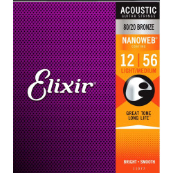 Elixir 11077 NanoWeb Bronze Light-Medium 12-56 struny akustyczne
