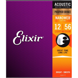 Elixir 16077 NanoWeb Phosphor Bronze Light-Medium 12-56 struny akustyczne