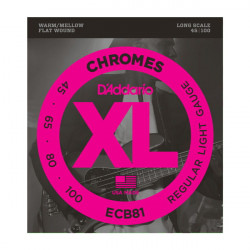 D'Addario ECB81 Chromes Bass Light 45-100 Long Scale - struny do gitary basowej typu FLAT